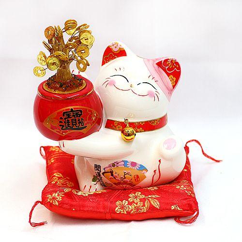 新年快乐 吉祥如意 金钱树招财猫